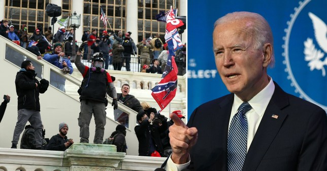 Trump supporters storming Capitol Hill and President-elect Joe Biden