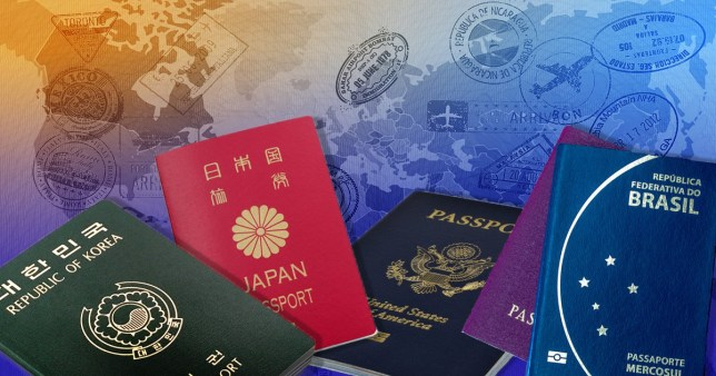 different passports on a colourful background