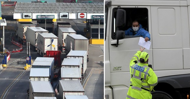 A lorry driver presents his paperwork to the police as queues form at the UK's ferry terminal