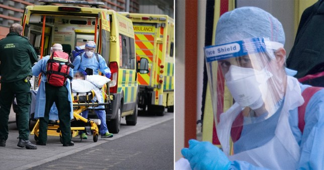 Paramedics treat people with coronavirus