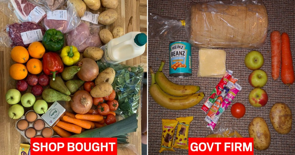 Side by side £30 shop and government Free School Meal parcels