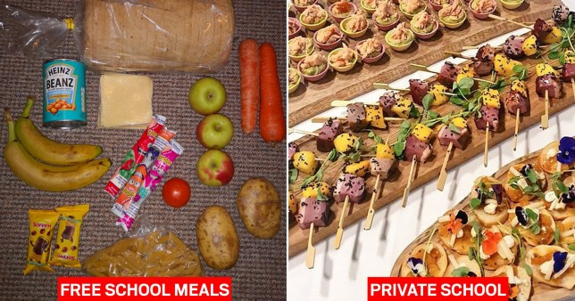 A free school meal package described as inadequate by parents, provided by Chartwells UK, next to a canapes spread provided to private schools by Chartwells Independent