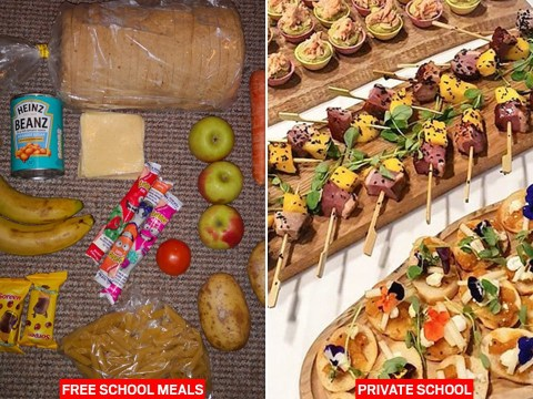Free school meals firm offers very different serving at private schools