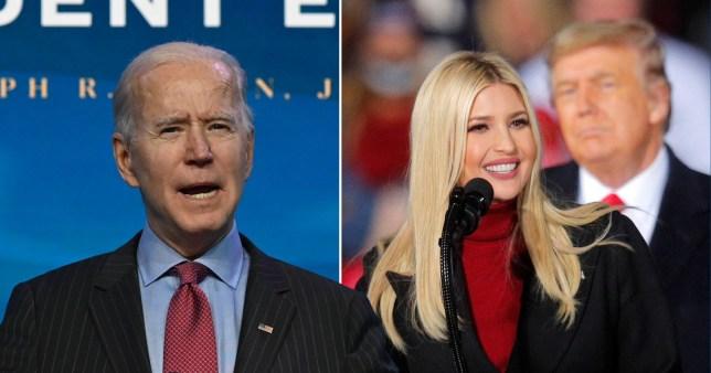 Pictures of Ivanka Trump and Joe Biden
