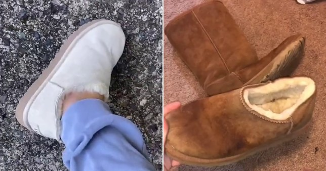 before and after shots of an Ugg boot turned into a slipper