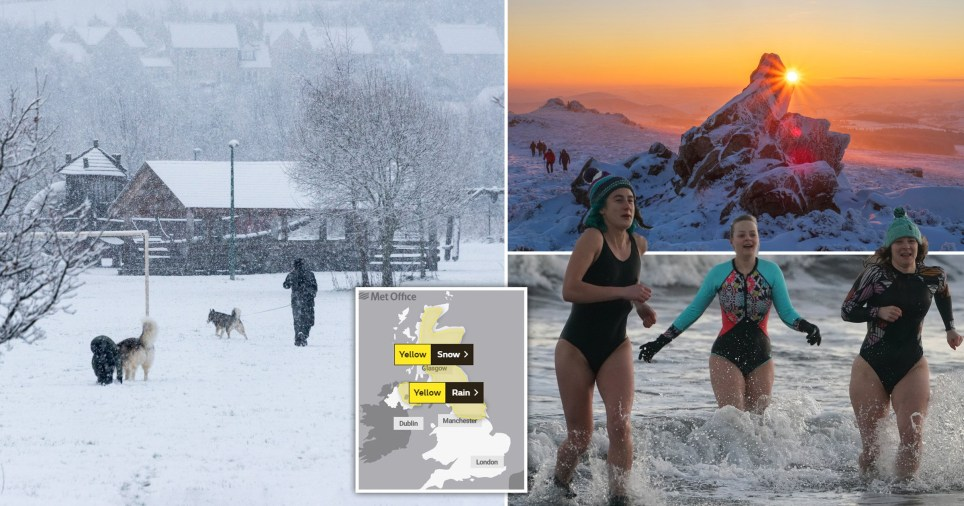 Snowy scenes in the UK and yellow weather warnings for snow and ice