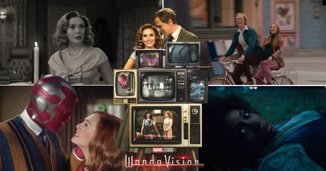Paul Bettany, Elizabeth Olsen, Teyonah Parris in WandaVision, Marvel Studios