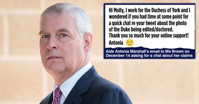 Prince Andrew et capture d'écran d'un message. Les aides du prince Andrew ont contacté Molly Skye Brown et lui ont demandé de les aider à discréditer Virginia Roberts.