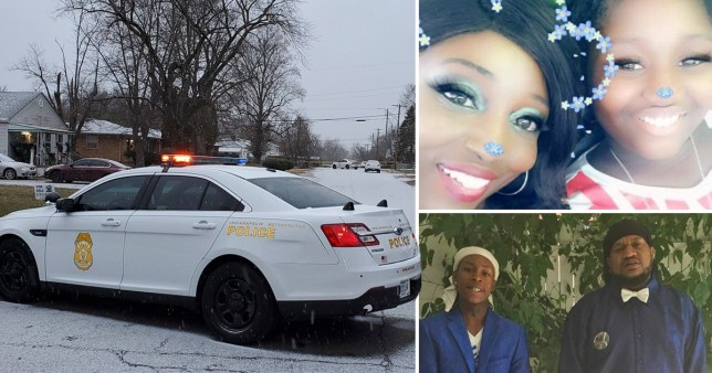 Kezzie Childs, 42 and Rita Childs, 13, top right, and Elijah Childs, 18 with Raymond Childs Jr, 42, bottom right, are four of the five who were found dead yesterday