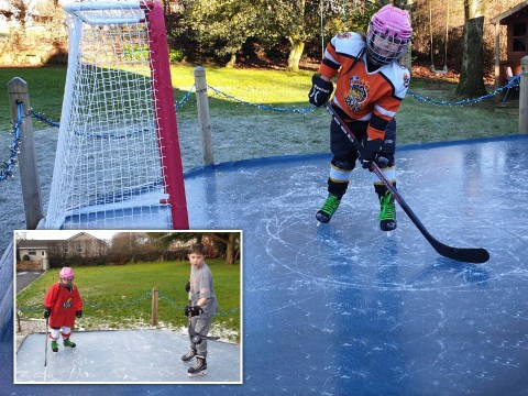 Dad builds his kids an ice rink in the back garden for under £30