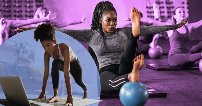 Woman working out at home and in gym