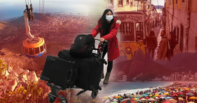 Travel destinations and a woman with several suitcases wearing a face mask