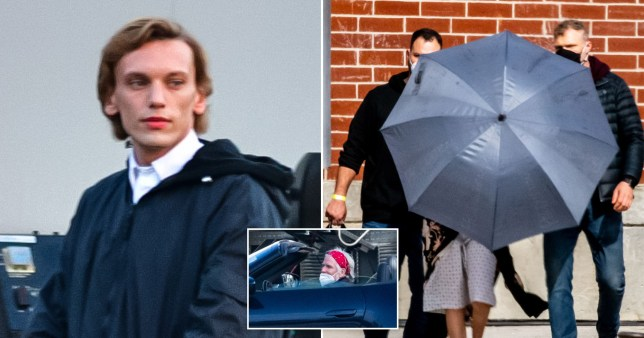 Millie Bobby Brown hides behind umbrella as she's spotted in hospital gown on set of ST s4 and Jamie Campbell Bower and Matthew Modine on Stranger Things set 4 for ?150