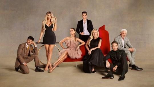 Celebs Go Dating 2021 L_R Karim Zeroual, Chloe Ferry, Sophie Hermann, Curtis Pritchard, Kimberley Hart Simpson, Tom Zanetti and Wayne Lineker