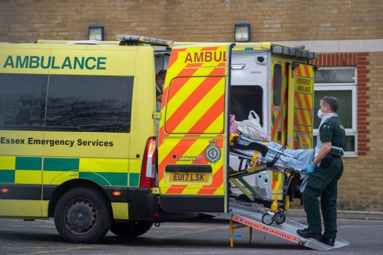A patient arrives by ambulance to Southend University hospital in Essex. Hospitals in the county have declared a major incident and local authorities, concerned about the number of Covid-19 cases, have asked for military help to increase hospital capacity, with fears over critical care, bed capacity and staff sickness. PA Photo. Picture date: Thursday December 31, 2020. See PA story HEALTH Coronavirus. Photo credit should read: Joe Giddens/PA Wire