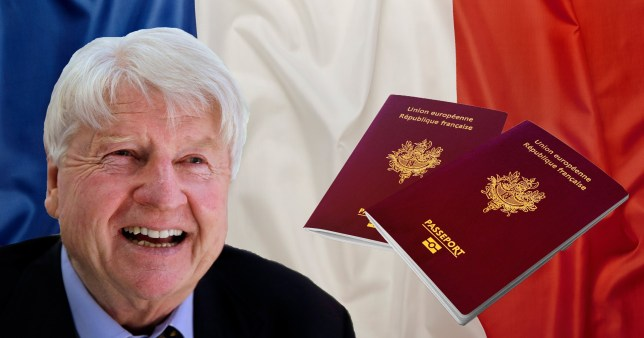 Stanley Johnson with a backdrop of a French flag and a French passport