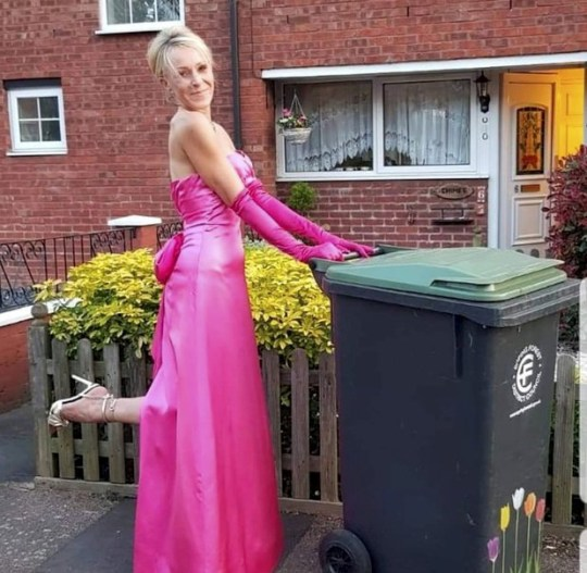 Meet Nicola Matthews, who spent nearly six months donning a different posh frock and heels every week to put her wheelie bin out
