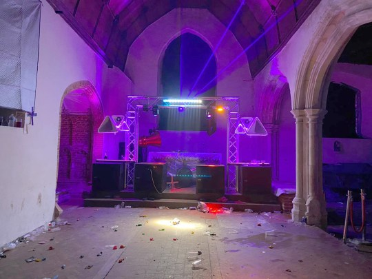 The aftermath of the party in All Saints Church Essex