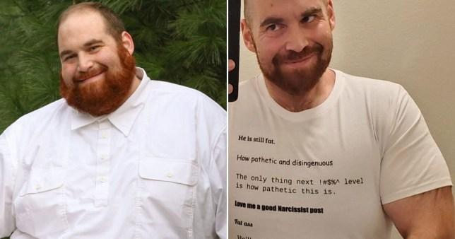 Before and after image of man who lost weight