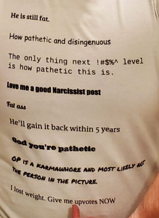 Mean comments printed on t-SHIRT
