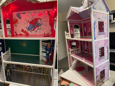 Mum transforms dolls house into superhero version for £35
