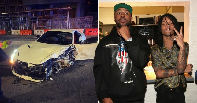 Mike Will Made-It and Swae Lee pictured separately alongside wrecked car
