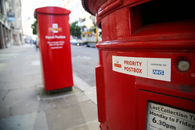 LONDON, UNITED KINGDOM - 2020/09/14: A Royal Mail priority postbox in City of London. Post Offices are collecting completed test kits from priority postboxes as part of the government COVID19 testing programme. (Photo by Dinendra Haria/SOPA Images/LightRocket via Getty Images)