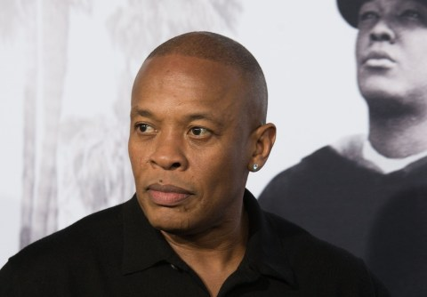 (FILES) In this file photo taken on August 10, 2015 rapper/producer Dr. Dre arrives for the Universal Pictures And Legendary Pictures premiere of