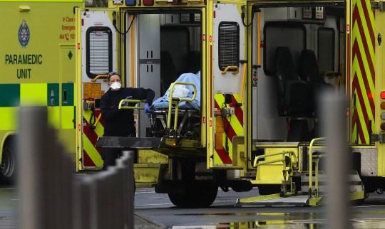 Paramedics and ambulances at the Mater Hospital in Dublin.
