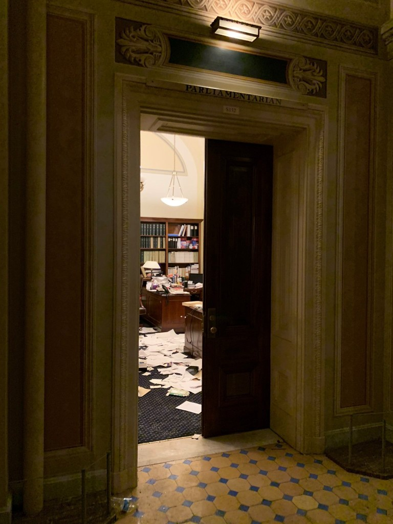 Documents lie on the floor inside the U.S. Capitol in Washington, DC, U.S., January 6, 2021, in this still image obtained from social media. Tom Brandt via REUTERS ATTENTION EDITOR - THIS IMAGE HAS BEEN SUPPLIED BY A THIRD PARTY. MANDATORY CREDIT. NO RESALES. NO ARCHIVES