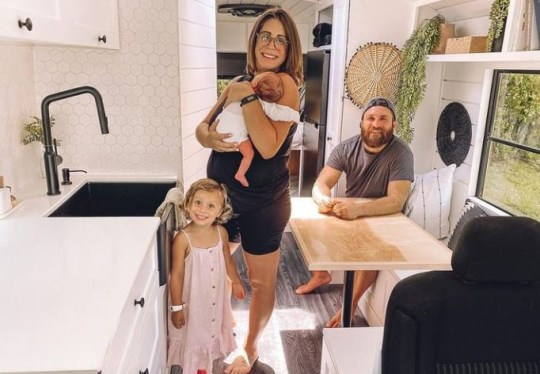 Jake, Gianna, Luna and Capri living in converted bus