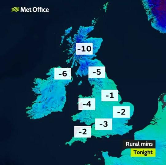 Temperatures last night