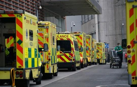 Ambulances outside the Royal London Hospital