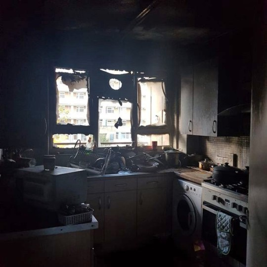 The remains of the flat that was destroyed by fire