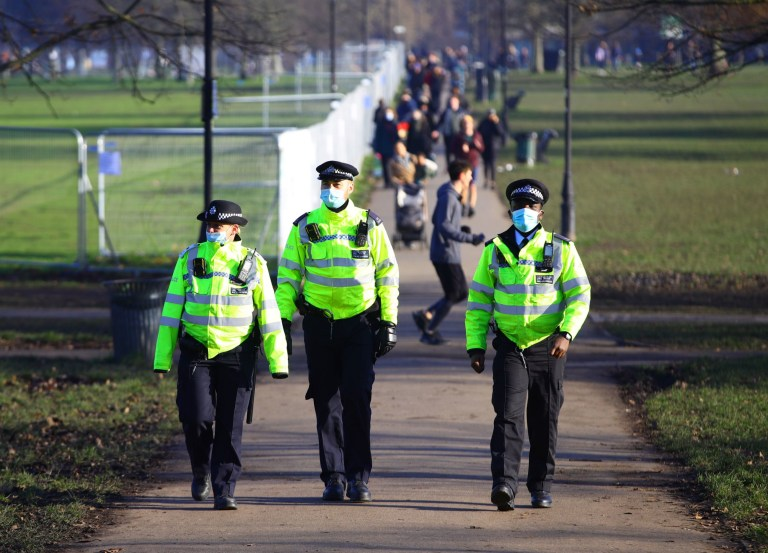 Police presence before a proposed anti-lockdown protest in Clapham Common, London. PA Photo. Picture date: Saturday January 9, 2021. Photo credit should read: Aaron Chown/PA Wire