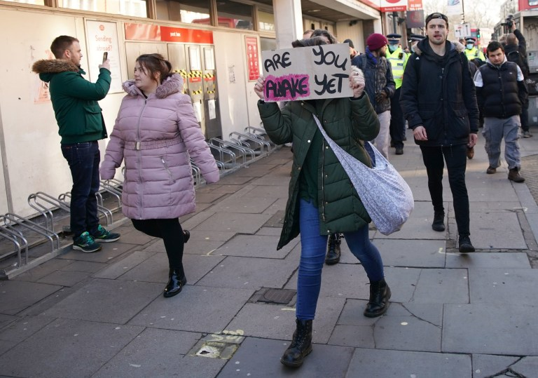 People take part in an anti-lockdown protest in Clapham Common, London. PA Photo. Picture date: Saturday January 9, 2021. Photo credit should read: Aaron Chown/PA Wire
