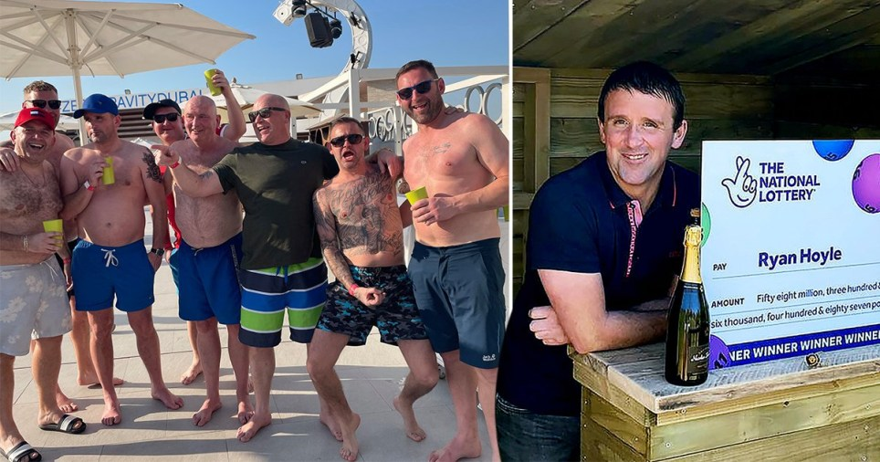 A group of seven friends in Dubai and Ryan Hoyle with his lottery cheque. Ryan Hoyle celebrated his EuroMillions lottery win by taking his friend on a trip to Dubai.