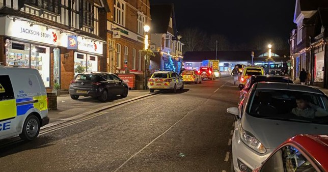 Police vehicles parked in Station Road West, Oxted after the stabbing