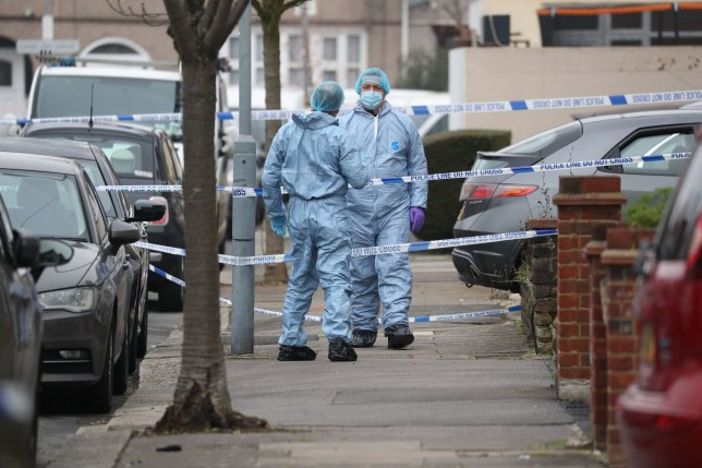 Forensic officers at the scene in Tavistock Gardens, Ilford, east London after two men died at a property in the street. The men were found seriously injured on Sunday morning and died at the scene, said the Metropolitan Police. A woman, who had non life-threatening injuries, was arrested at the scene and taken to hospital for treatment. PA Photo. Picture date: Sunday January 10, 2021. See PA story POLICE Ilford. Photo credit should read: Jonathan Brady/PA Wire