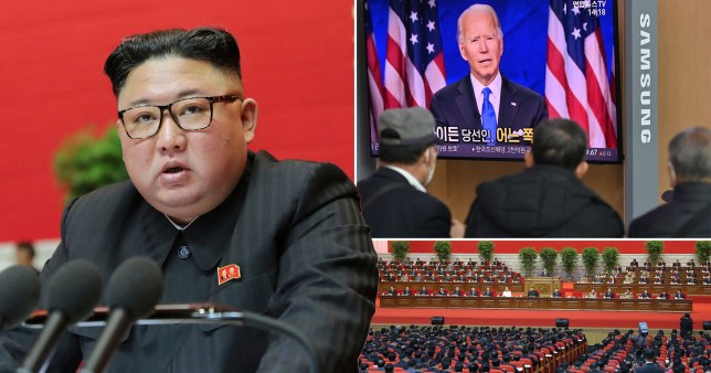 North Korean leader Kim Jong Un speaks at the ruling party congress in Pyongyang and Joe Biden talking on TV. North Korea has threatened to build more nuclear weapons unless the US abandons its 'hostile policy'.