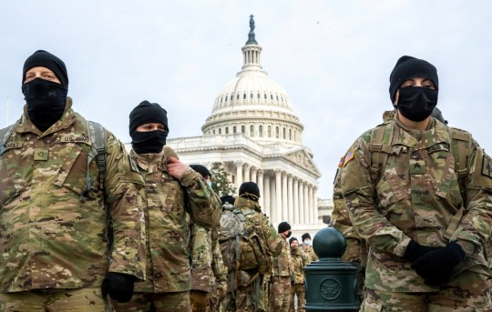 epaselect epa08931496 Members of the New York National Guard form up on the East Front of the US Capitol in Washington, DC, USA, 11 January 2021. Speaker of the House Nancy Pelosi has said she will introduce articles of impeachment today against US President Donald J. Trump for incitement of insurrection following the attack on the Capitol last week as lawmakers worked to certify Joe Biden as the next President of the United States. EPA/SHAWN THEW