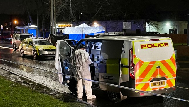 South Yorkshire Police at the scene of a shooting in Mexborough, South Yorkshire this evening.