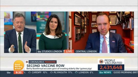 Piers Morgan and Susanna Reid and Matt Hancock on Good Morning Britain