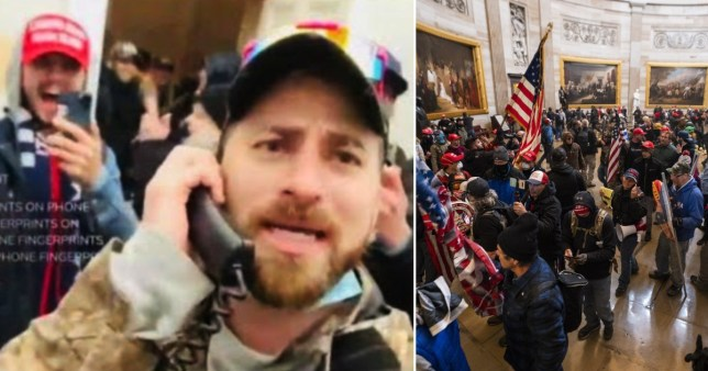 Baked Alaska filming himself in the Capitol and Trump-supports storming the Capitol. Baked Alaska has been arrested by the FBI after storming the Capitol.