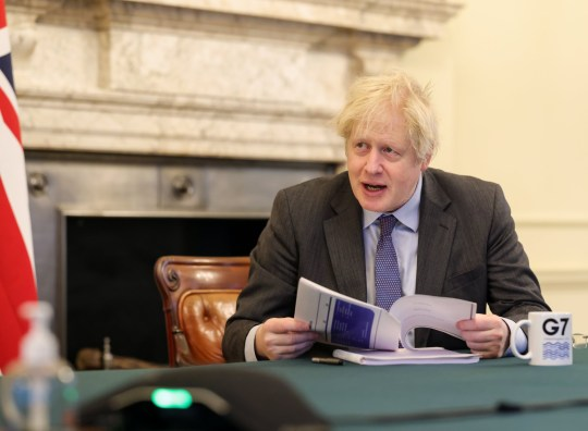 19/01/2021. London, United Kingdom. Prime Minister Boris Johnson virtually chairs the weekly Cabinet Meeting and uses a G7 mug. 10 Downing Street. Picture by Pippa Fowles / No 10 Downing Street