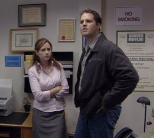 Pam Beesly and Roy in The Office