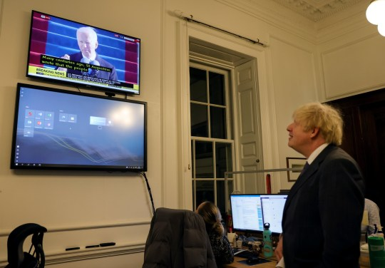 20/01/2021. London, United Kingdom. Prime Minister Boris Johnson watching the President of the United States, Joe Biden's Inauguration, in 10 Downing Street. Picture by Pippa Fowles / No 10 Downing Street.