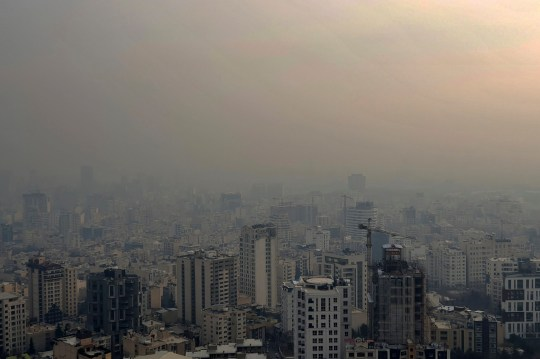 Air pollution blankets the skyline in Tehran, Iran