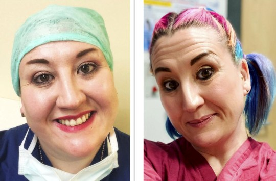 NHS worker Hannah Stewart pictured before and after she lost weight.