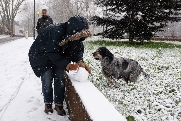 A woman rolls a snow ball with her dog in Stoke Newington, Hackney, as snow falls in London. Picture date: Sunday January 24, 2021. PA Photo. Conditions are set to become more hazardous going into the final week of January as the Met Office gets ready to put in place five new weather warnings for snow and ice. See PA story WINTER Weather. Photo credit should read: Ian Hinchliffe/PA Wire